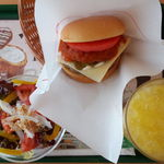 19104274 - スパイシーモスチーズ、セットMでこだわり野菜サラダ、オレンジM(上方から)