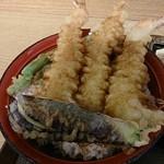 いわもとQ - 上天丼、エビ3本