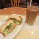 ドトールコーヒーショップ - 朝カフェBセット・エビとツナサラダ~バジルソース~ 380円