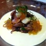 19138121 - いろいろ魚介、新玉葱のムース仕立て