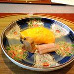 19153575 - 焼肴 サーモン山吹焼き 小巻湯葉有馬煮 芋茎甘酢漬け