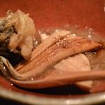 19154663 - お通し 穴子煮 山菜の天ぷら