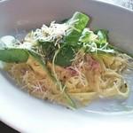 19156244 - 春野菜と自家製サルシッチャのクリームソースフェットチーネ