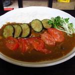 河っぱ茶屋 - カレー ¥550 にトッピング、ナスとトマトの野菜ソテー ¥150