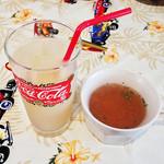 オールウェイズカフェ - ランチセットのスープと飲み物。