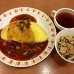 オムライス&パスタ Kent's - 山菜とベーコンのオムライス&スープ&サラダ