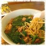 力丸 - がちメニュー「鉄骨らーめん」いただきました。 大好きなもちっと太めんと芳ばしいスープ、ほうれん草が、すっごく合う!!これぞ美味~♪ がちそうさまでした!