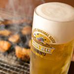 炭火七輪 炭きち - やっぱり生ビール!!