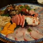 竹shi - 刺身盛り合わせ。蛸、中トロ、うに、勘八、栄螺、牛たたき。
