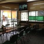 大衆食堂 日本一 - 1番奥の席から入り口に向いて撮っています。