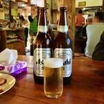 らーめん八平 - 瓶ビール:お会計は、自己申告制です!飲み過ぎて、何本呑んだか、解らなくならないように!