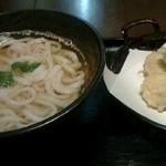 谷保うどん シロチャン - 谷保うどん700円也。出汁入りかけうどん+野菜天ぷらの盛り合わせ。