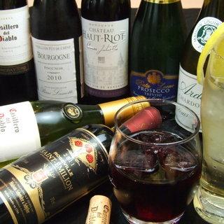 【ドリンクメニュー多種】串かつに合うワインも◎