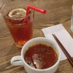 19257579 - ランチのスープと+100円のドリンク