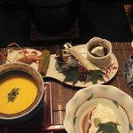 1926611 - 八寸、冷たいカボチャスープ、湯葉の刺身