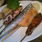 19312214 - 魚串(イカ、さわら、サンマ、鮭ハラミ、鯖みりん)