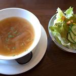 Trattoria & Pizza Banzo - パスタのランチにはスープとサラダが両方ついてきます。