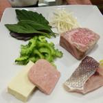 鉄板焼 南々西 - 魚と肉(調理前)