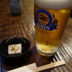 19332768 - 生ビールのお通しは毎日違います。この日はそば豆腐