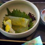 レストラン オーブ - 菜の花入り、刺身蒟蒻