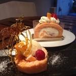 Pastelaria 五條 - 販売用フルーツロールが、店内だと大変身!自家製アイスのせ、プラス200円でご提供いたします!(≧∇≦)