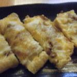 和のおもてなし ごんらん - えちご名物、栃尾の油揚げ、納豆チーズ焼き。ピザトーストのような食感。