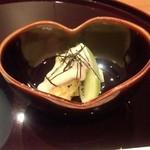 日本料理雲海 - 【初夏の会席】小鉢 焼き茄子 キウイ 胡麻クリーム鞍掛け