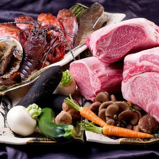 【食材】黒毛和牛ヒレステーキや活け鱧,松茸,紅葉鯛