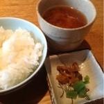 小城 - ご飯、味噌汁、香の物