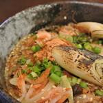 本手打 鯛屋 - 桜海老と、焦がし太葱。スープは魚介と木の実系かな~。少し辛い。