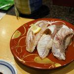 ひょうたんの回転寿司 - 三種盛り二度目、のどぐろがありました