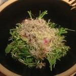 居酒屋 わったい菜 - 紅芯大根と有機水菜のサラダ。