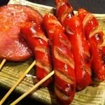 積丹浜料理 第八 太洋丸 - 串物 赤ウインナーと厚切りハム