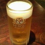 そば 三休 - 生ビール(エビス)