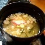 おやじの台所 森崎 - 味噌汁(少し飲んじゃってます)