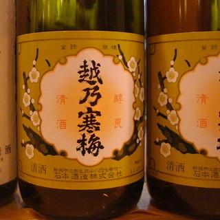 全国レベルの地酒(越乃寒梅・久保田千寿)1合600円