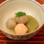 懐石 大原 - 炊き合せ (翡翠茄子と海老の叩き寄せと小芋)