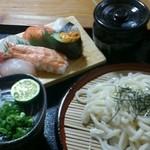 すしのありじん - 料理写真:寿司定食850円+うどん0.5玉追加50円