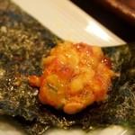 寿司文 - 七福納豆ばくだん 海苔で巻いて食べる
