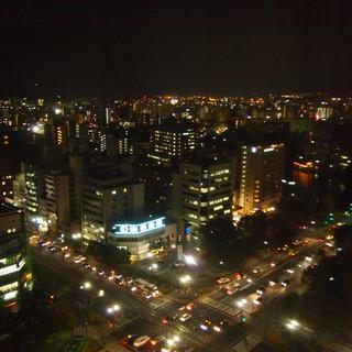 ホテル最上階からの夜景。ドリミネーションも見えます。