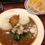 カレーショップ C&C - 朝カレー(唐揚げ)+ほうれん草ベーコン、サラダ
