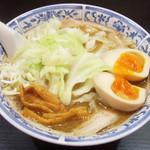 麺工房 武 - ラーメン(オープン記念で500円)+味付玉子(100円)