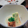 Nomikuidokorokoyaji - 料理写真:お通し。アーサー卵焼きカニあんかけ