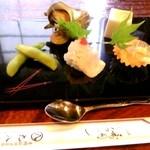 19478295 - (前菜)枝豆・ハモ・うにイカ・サザエ・ゴマ豆腐