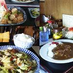 つきじ - ホタテとピーマン定食、野菜炒め、カレー