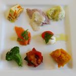 ブオーノ ブオーノ - 1皿に盛り付けた 小さな8種類のアンティパスト