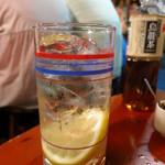 焼き鳥 若竹 - 2杯目のレモンサワー。1杯目の焼酎より明らかに多い!!