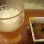 楽椿 - ビールとお通し