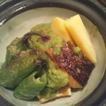 19509240 - 鮭と旬菜の新緑ソース焼き