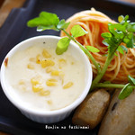 パスタマンジャーレ - トマトパスタに、里芋、コーンのグラタン